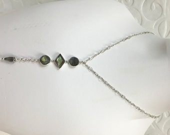 "Sterling Silver & Labradorite ""Y"" Necklace (Short Version)"