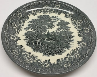 Biltons Ltd. Gray Floral Ironstone 9 inch Plate Floral Rim Farm Scene at center Smooth Rare ironstone BIl27 Gray by Biltons