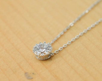 Crown Necklace, Crown Pendant, 925 Sterling Silver Necklace, Crystal Necklace Pendant, Bridesmaid Gift, Bridesmaid Necklace,