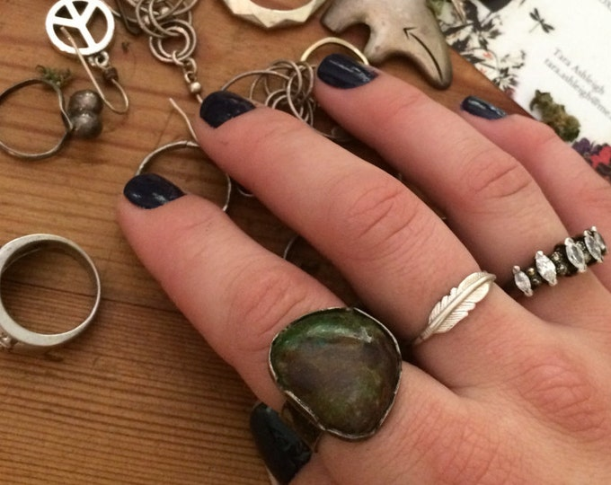 Boho chic sterling silver and large unique earth tone Jasper gemstone bezel statement ring size 9