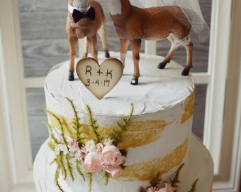 Deer wedding cake topper blush ivory veil bride groom hunter hunting themed antler rack deer hunter the hunt is over wood sign buck doe