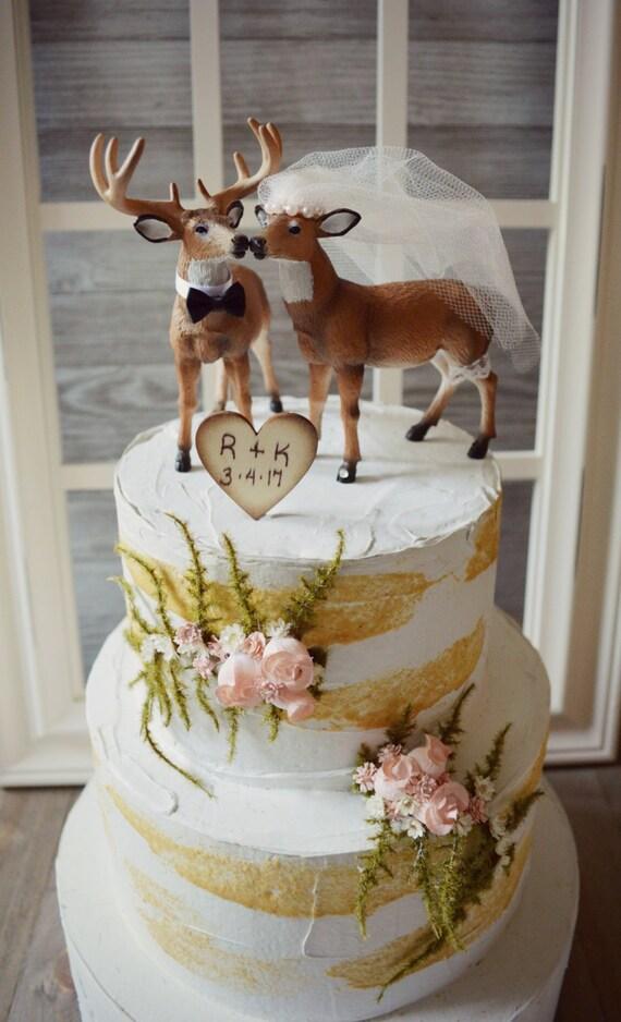 Deer Wedding Cake Topper Blush Ivory Veil Bride Groom Hunter
