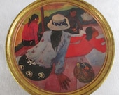 Paul Gauguin Cookie Tin, Vintage Advertising, Siesta Tahiti Decorative Storage Kitchen Decor Craft Bin Memento Letter Note Holder Gift Box