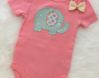 Baby girl pink elephant bodysuit, mint and coral elephant- personalize with your child's name!
