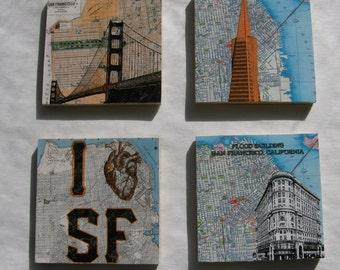 San Francisco Wood Coasters Set of 4, Golden Gate Bridge, Transamerica, Flood Building, I heart sf