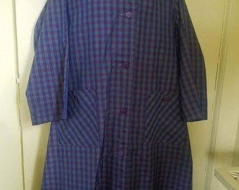Vtg Lawrence of London Plaid Rain Coat XL