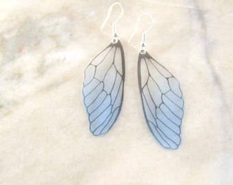 Petite Blue Translucent Fairy  Wing Resin Earrings