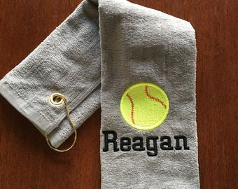 Personalized baseball towel or softball towel,  great team gift for pin towel, with or without hook