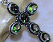 HOLIDAY SALE...Mystic Topaz Cross From England...Set In Sterling Silver Palladium