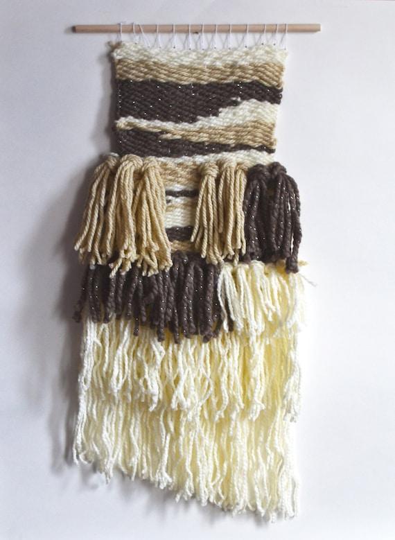 Weaving, Wall Art, Wall Hanging, Wall Weaving Brown, Yarn, Wall Weaving, Bohemian Home Decor, Long Wall Weaving, Abstract Art, Fiber Art