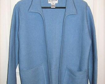 Vintage Ladies Blue Wool Cardigan Sweater by Pendleton Medium Only 11 USD