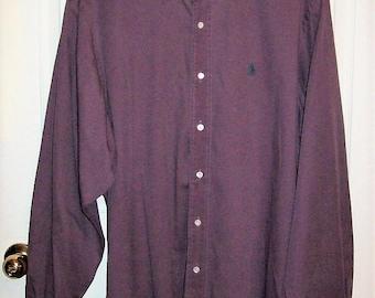 Vintage Men's Purple Long Sleeve Shirt Polo Ralph Lauren XL Only 12 USD
