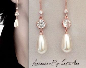 Pearl drop earrings ~ Rose Gold ~ Long ~ Elegant ~ Wedding Jewelry ~ Brides earrings ~ High quality ~ Classic ~