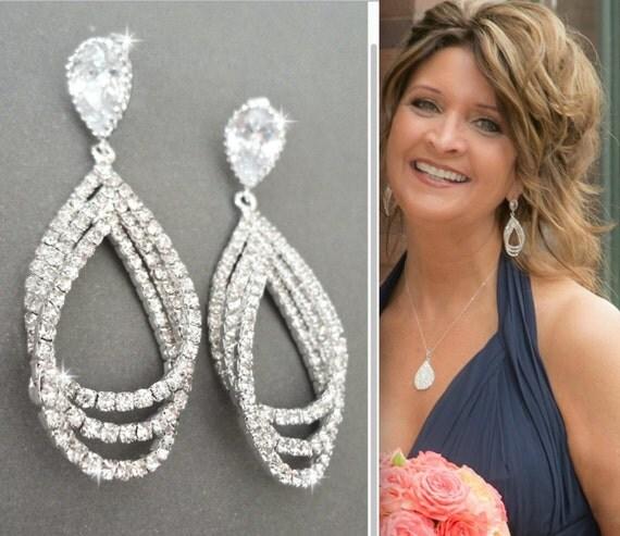 Crystal teardrop earrings, Sterling posts, Triple Layer, Crystal statement earrings, Crystal earrings ~ Brides earrings, Wedding earrings
