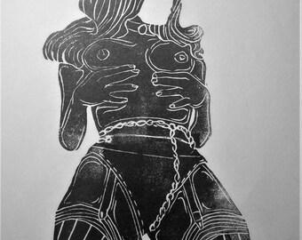 """inspiration erotique vintage linogravure imprimé à l'encre à l'huile  sur papier de riz"""" Henriette """""""