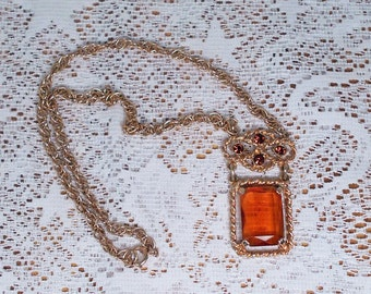 Vintage Topaz and Gold Colored Necklace with Pendant Sarah Coventry