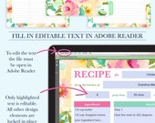 Family Recipe Binder Kit, Personalized Recipe Book Binder, Printable Recipe, Editable Recipe, DIY Recipe Binder Printable, Recipe Template