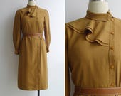 Vintage 80's Mustard Yellow Avant Garde Draped Collar Dress XS or S
