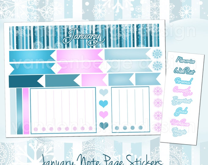 JANUARY Notes Page Stickers- Perfect For The Erin Condren Life Planner!