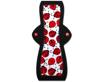 "SALE   Washable Sanitary Pad (12"" Moderate - Ladybug Flannel)"