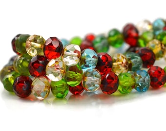 25 Czech Rondelle Mix - 8x6mm - Transparent Peridot, Red, Aqua with Picasso Finish