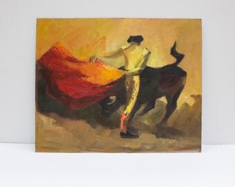 Vintage Matador Art, Bull Fighter Original Oil Painting by C Bates
