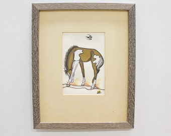 Quincy Tahoma Gouache 'Colt', Collectible Navajo Signed Art / Painting