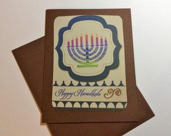Hanukkah Card, Handmade, Brown, Blue, Pinks, Happy Hanukkah, Blank Inside, Brown Envelope
