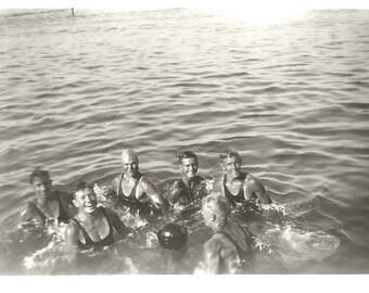 """Vintage Snapshot """"Men's Volleyball Team"""" Muscular Guys Handsome Men Water Volleyball 1920's Found Vernacular Photo"""