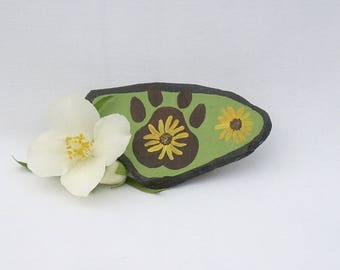 Pet Magnet, Hand Painted Paw Print, Yellow Flowers, Floral Painting, Decorative Slate, Kitchen Magnet, Paw Print Magnet, Flower Magnets