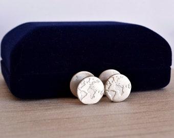 Travel Handmade Cufflinks / Traveler / Mens Inspirational Jewelry / Men's Gift / Globe Cufflinks /World Map Graduation Gift/ Fiance Gift