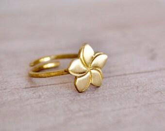 Plumeria Ring / Flower Ring / Frangipani Ring / Gifts for Women / Birthday Gift / Send off Gift /Mid-finger Ring/ Gift for her / Cute Ring