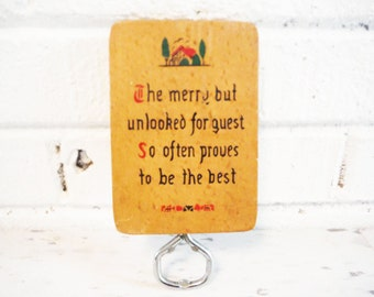 Vintage bottle opened wall art plaque sweet quote friends hospitality wood and metal kitsch mid century 1940's