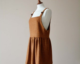 Rusty apron dress, Pinafore dress, Jumper dress, Pinafore apron, Womens pinafore, Wool dress, Womens clothing, Pinafore apron dress