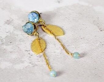 Blue Druzy Earrings - Long Earrings - Unusual Earrings - Aquamarine Earrings - Unusual Jewelry - Long Gold Earrings - Statement Earrings