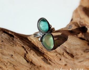 Hawaiian Kauai Rare Teal Beach Glass & Aqua Beach Glass Set in 925 Sterling Silver Handcrafted Ring - Size 6