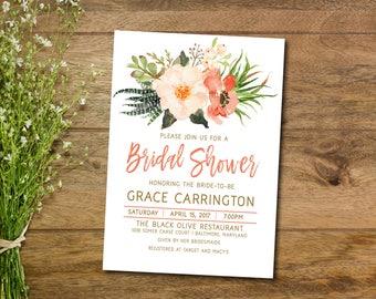 Boho Bridal Shower Invitation, Floral Bridal Shower Invite, Watercolor, Printable Invitation, Baby Shower Invitation, Rustic, Shabby Chic
