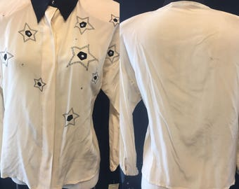 Fun 1980 white silk studded embroidered Small size 4 blouse