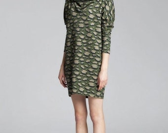 MIlitary colours  hooded dress with ice floes print