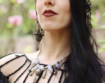 Tribal Layering Headdress- Mixed Metal Turkoman Button, Glass Bead, Cut Steel and Crystal Brass Chain Headpiece