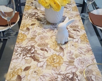 Easter Table Runner, Spring Table Runner, Yellow Floral Table Runner, Beige Floral Table Runner