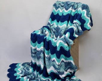 Ocean Blues Ripple Afghan - Crochet Blanket - Ocean Blue Tones with Coordinating Multi - Throw - Coastal Decor - Couch Blanket