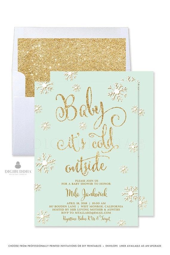Winter Baby Shower Invitation Gender Neutral Baby Shower Invitation ...