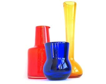 Vintage MCM Bottles Art Glass Orange Yellow Blue Vases Set of Three Retro Glass Photo Prop