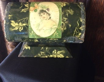 Antique Dresser Box with Portrait Design Celluloid