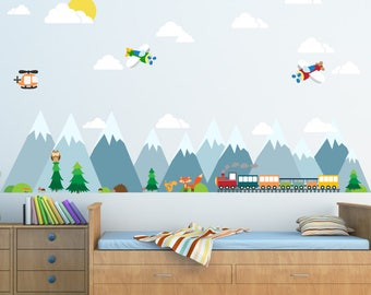 Mountains Wall Decal, Mountain Scene Decal, Train Decal, Kids Wall Decals  Ecofriendly No