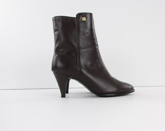 Leather Ankle Boots - Vintage 1980s NOS Brown Booties 7 US - 37.5 Euro by La Vallée