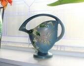 Roseville Pottery Basket Blue Snowberry 18K Vintage 1940s