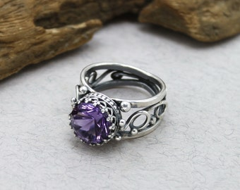 Sterling Silver Amethyst Ring Antique Amethyst Ring Amethyst Engagement Ring Amethyst Promise Ring Amethyst Anniversary Ring for Women