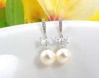 Drop Pearl Bride Earrings, Cubic Zirconia Ribbon Bow Wedding Earring,Swarovski dangle Pearl Wedding Jewelry Bridal Earrings, Bridesmaid Gift